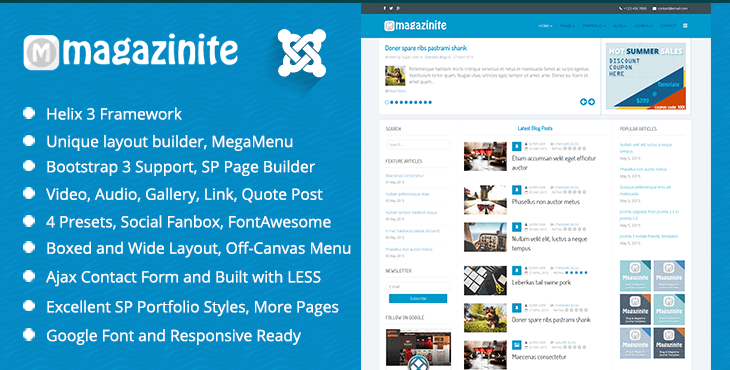 TM Magazinite Responsive Bootstrap 3 Blog Joomla Template